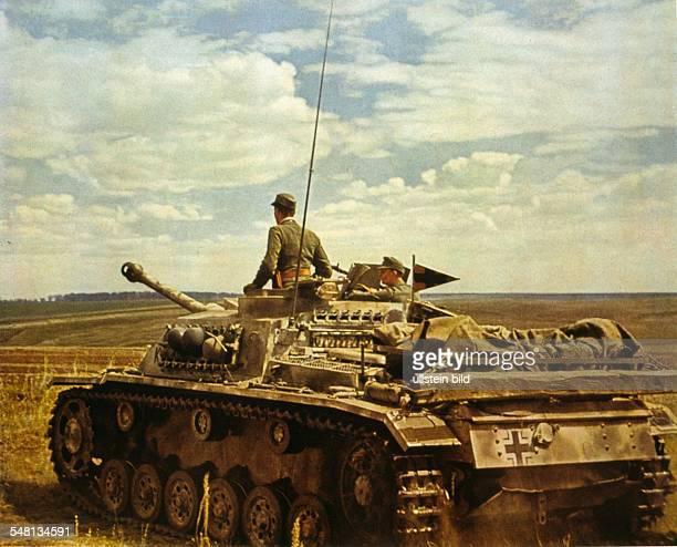 Soviet Union Ukrainian SSR World War II German tank on the advance in the Ukraine 1942 Photographer Sobotta