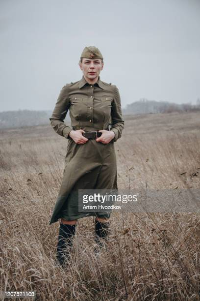soviet woman soldier posing - world war ii stock pictures, royalty-free photos & images
