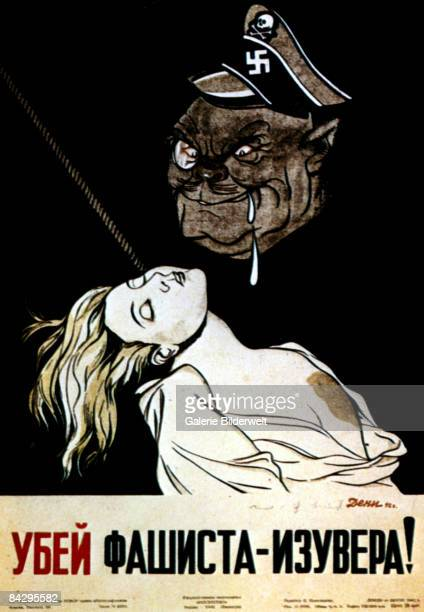 A Soviet World War II propaganda poster depicts a grotesque German officer drooling over the body of a murdered woman with the words 'The Fascist...