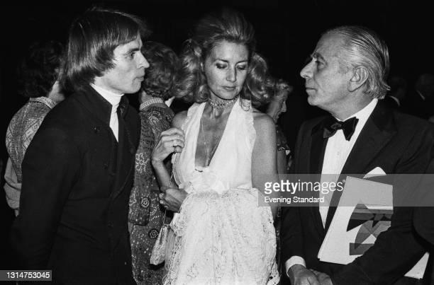 Soviet-born ballet dancer Rudolf Nureyev talks to property developer and philanthropist Sir Max Rayne and Lady Jane Rayne at the Royal Opera House in...