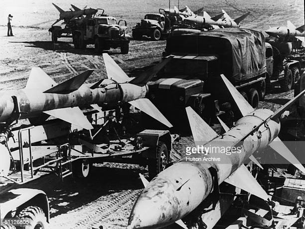 Soviet-built Egyptian SAM II anti-aircraft missiles captured by the Israelis on the western bank of the Suez Canal await transport to Israel during...
