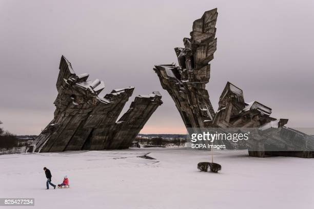 Sovietbuilt memorial to Holocaust victims adjacent to the IX fort where about 50000 people were executed including more than 30000 victims of the...