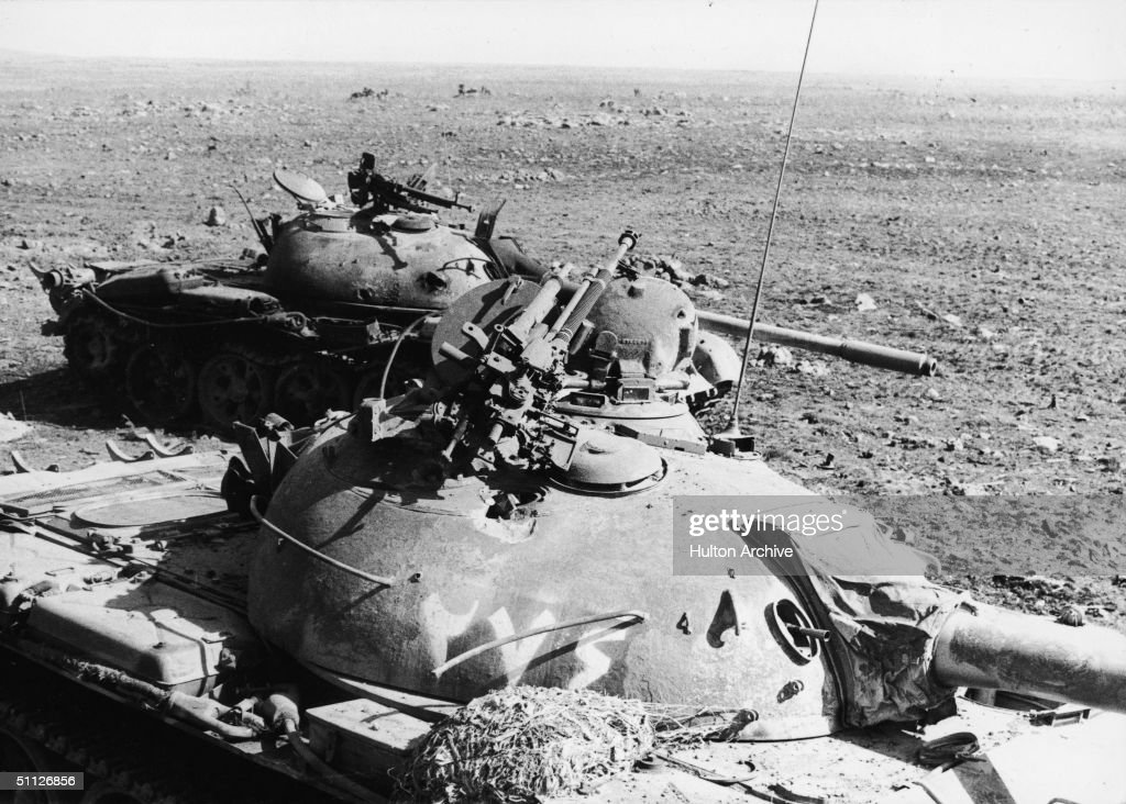 Soviet-built Syrian T-62 tanks destroyed by the Israelis in a tank battle during the Yom Kippur War, October 1973. The Israelis captured large numbers of the latest Soviet weaponry during the conflict.