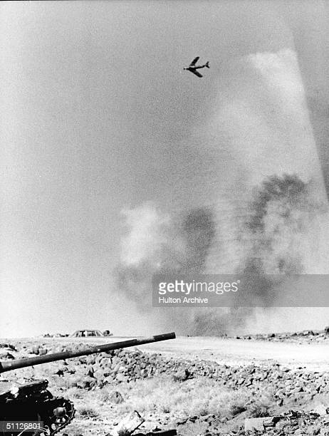 Sovietbuilt Syrian Tupolev jet plane in action over the Golan Heights during the Yom Kippur War October 1973
