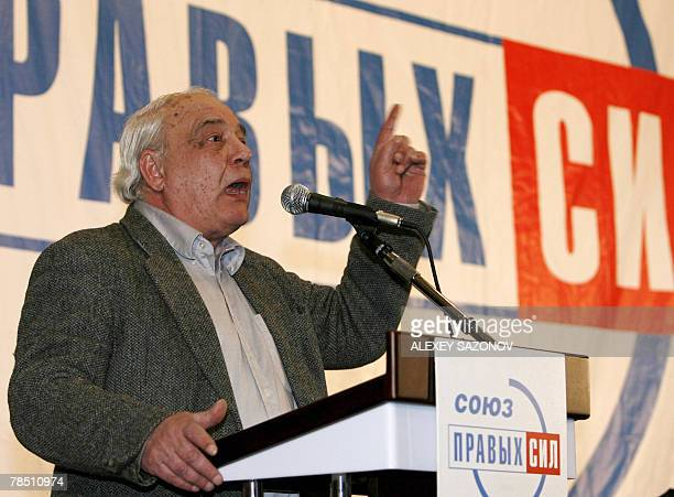 Sovietera Dissident Vladimir Bukovsky speaks at an opposition meeting in Moscow 17 December 2007 Bukovsky is a potential united oppostion candidate...