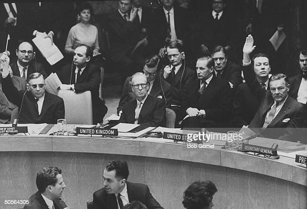 Soviet's Arkady A Sobolev Sir Pierson Dixon and Henry Cabot Lodge Jr at UN session re Union of S Africa