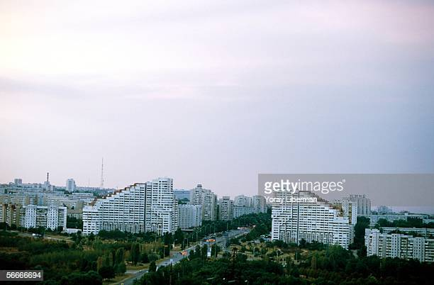 Soviet-style buildings stand as a gate to the Moldavian capital September, 2001 in Chisinau, Moldova. After the collapse of the Soviet Union in 1991,...