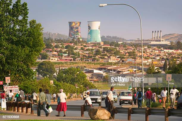 soweto and cooling towers from nuclear power plant - soweto towers stock pictures, royalty-free photos & images
