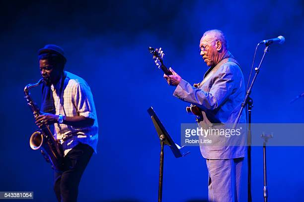Soweto Kinch and Ernest Ranglin perform at Barbican Centre on June 27 2016 in London England