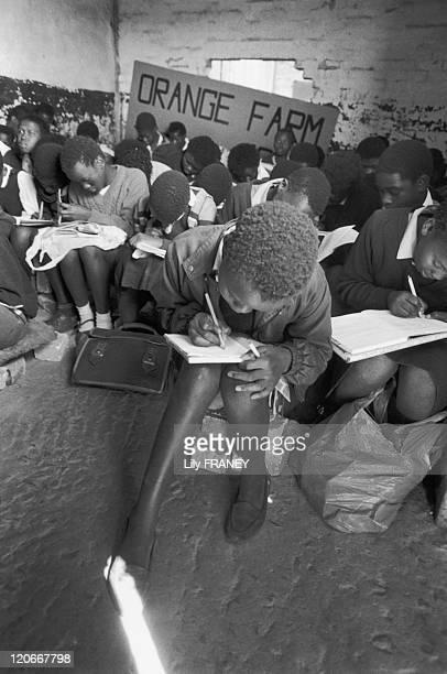 Soweto South Africa in 1989 Schoolchildren in Orange Farm where were welcomed displaced populations in Soweto