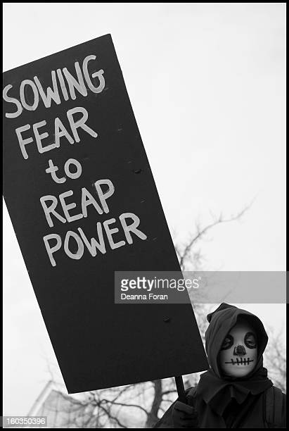 Sowing Fear to Reap Power. Grim Reaper in the March for Gun Control from the Westlake Plaza to the Seattle Center, Seattle, WA