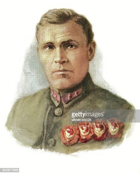 Sowjetunion Sowjetarmee Offiziere Wostrezow Stepan Sergejewitsch18831932Regimentskommandeur im Bürgerkrieg 191820Portrait von SJakowlew 1978red army...