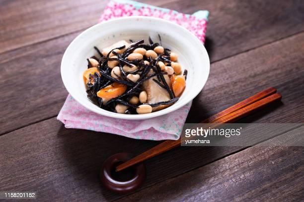 大豆とひじき煮 - 海苔 ストックフォトと画像