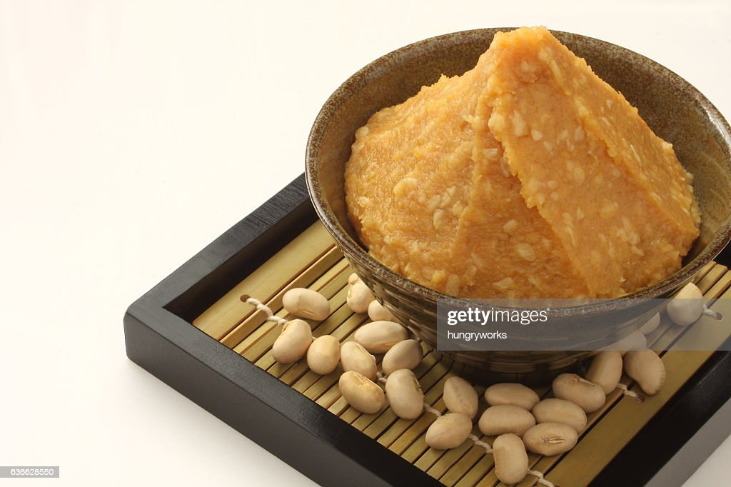 Miso and soy beans, Japanese food : Stock Photo