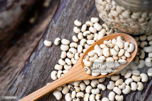 soy beans on wooden spoon - bean stock pictures, royalty-free photos & images