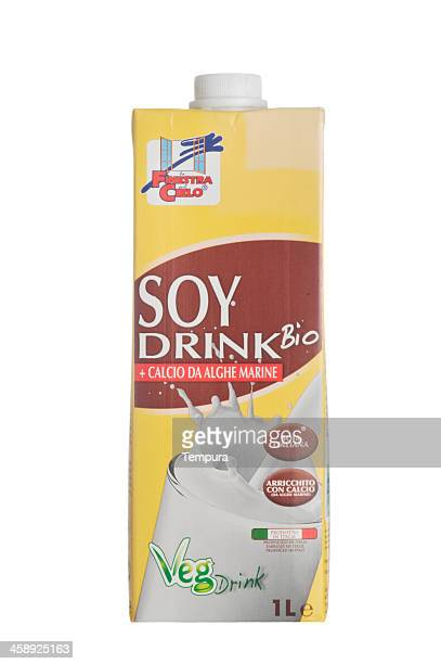 soy drink container isolated on white - milk carton stock photos and pictures
