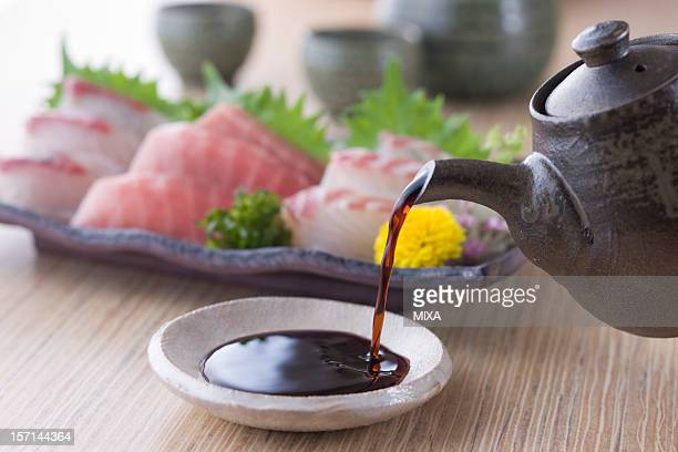 soy sauce and sashimi - soy sauce stock photos and pictures