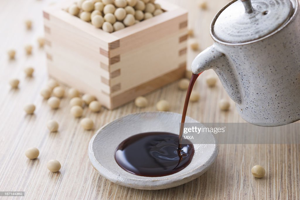 Soy Sauce and Soybean : Stock Photo