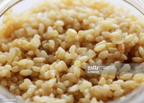 soy sauce taste of brown rice ,close up - arroz integral - fotografias e filmes do acervo