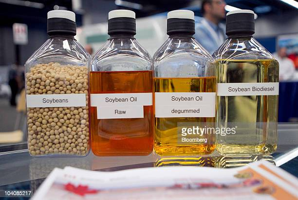 Soybean biodiesel sits on display during the 21st World Energy Congress in Montreal Quebec Canada on Tuesday Sept 14 2010 The theme of WEC Montreal...