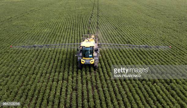 A soybean field is fumigated near Urdinarrain Entre Rios province Argentina on February 8 2018 Soybean fields in Argentina are often fumigated with...