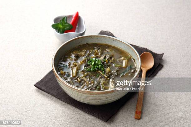 Soybean Paste Soup with Dried Radish Leaves