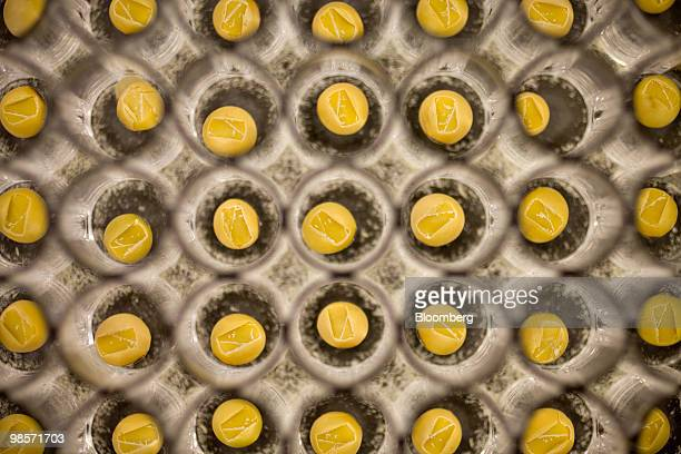 Soybean seeds sit in a tray after being run through a chipping machine which takes a small sample of the seed for testing inside a Monsanto Co lab in...