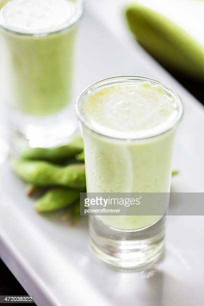 Soybean soup appetizers in shot glasses