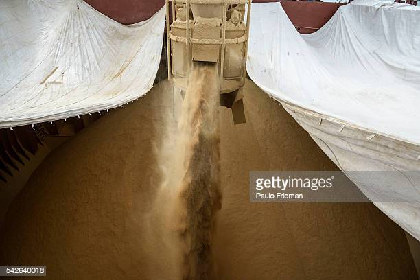 Soybeans being loaded into Mistral ship to be exported to Netherlands at the Santos Port on July 23rd 2015 Santos Brazil Brazil