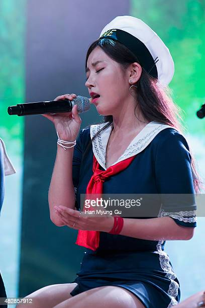 Soyeon of South Korean girl group Tara attends the press showcase for their 11th Mini Album 'So Good' on August 3 2015 in Seoul South Korea