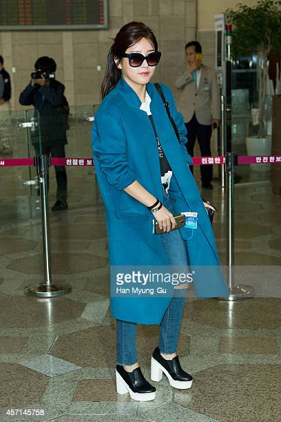 Soyeon of South Korean girl group Tara is seen on departure at Gimpo International Airport on October 13 2014 in Seoul South Korea