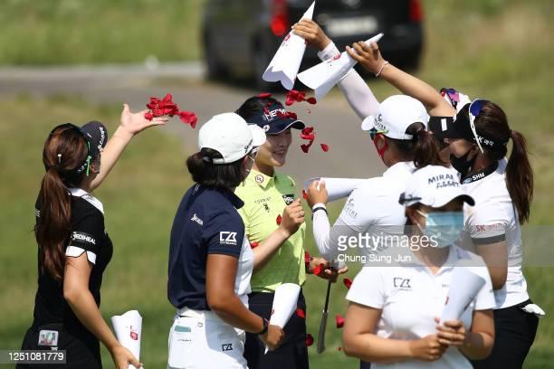 So-yeon Ryu of South Korea celebrates winning the tournament following the final round of the KIA Motors Korea Women's Open at the Bears Best...