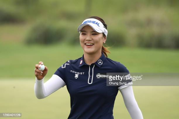 So-yeon Ryu of South Korea reacts after a putt on the 9th hole during the first round of the KIA Motors Korea Women's Open at the Bears Best CheongNa...