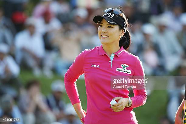 SoYeon Ryu of South Korea smiles during the third round of Japan Women's Open 2015 at the Katayamazu Golf Culb on October 3 2015 in Kaga Japan