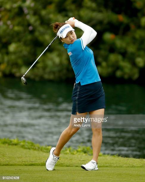 SoYeon Ryu of the Republic of Korea hits her second shot on the 7th hole during the first round of the Pure Silk Bahamas LPGA Classic at the Ocean...