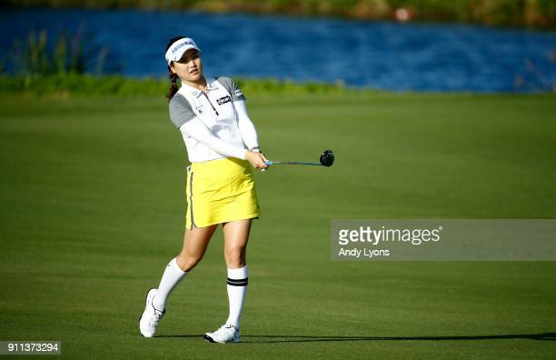 SoYeon Ryu of the Republic of Korea hits her second shot on the 7th hole during the second round of the Pure Silk Bahamas LPGA Classic at the Ocean...