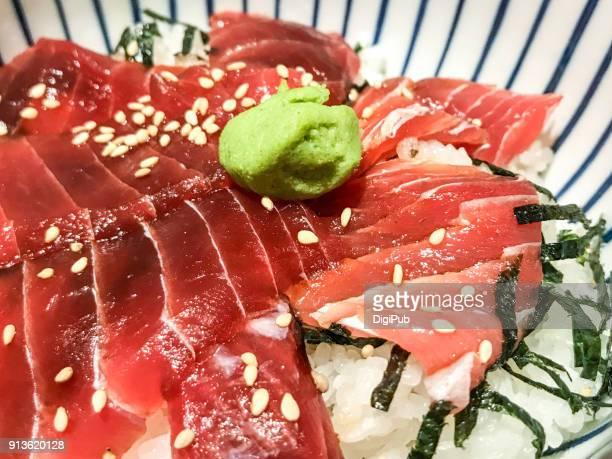 soy-marinated tuna sashimi rice bowl - wasabi stock pictures, royalty-free photos & images