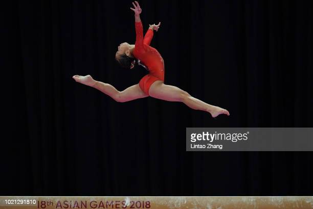Soyoka Hanawa of Japan competes on the Balance Beam during the Artistic Gymnastics of the Women's Team Final at the Jiexpo Hall on day four of the...