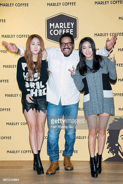 """Soyou and Bora of South Korean girl group SISTAR and Entrepreneur Rohan Marley attend the photo call for Korean launch of """"Marley Coffee"""" at Marley..."""