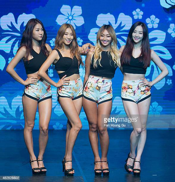 Soyou, Bora, Hyolyn and Dasom of South Korean girl group SISTAR perform onstage during their new album 'Touch and Move' showcase at Ilchi Art Hall on...