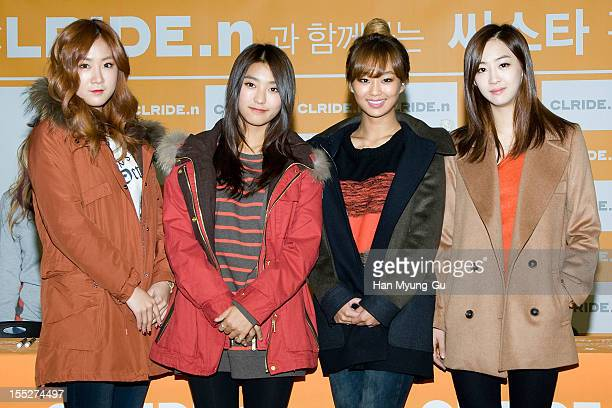 Soyou, Bora, Hyorin and Dasom of South Korean girl group SISTAR attend an autograph session for 'CLRIDE.n' at Lotte Department Store on November 02,...
