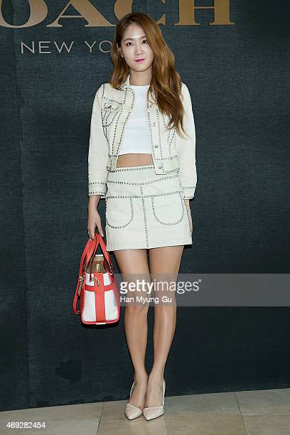 Soyou of South Korean girl group SISTAR attends the renewal opening for the COACH at Lotte Department Store on April 10, 2015 in Seoul, South Korea.