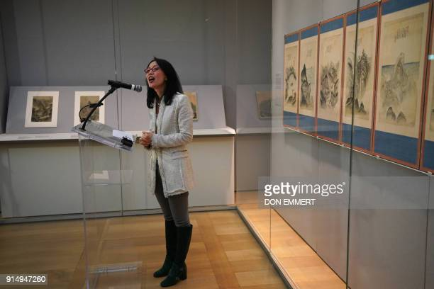 Soyoung Lee curator of the Metropolitan Museum of Art's department of Asian Art talks with reporters during a press preview of 'The Diamond...