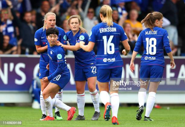 SoYun Ji of Chelsea Women celebrates after scoring her team's first goal with her team mates during the UEFA Women's UEFA Champions League Semi Final...