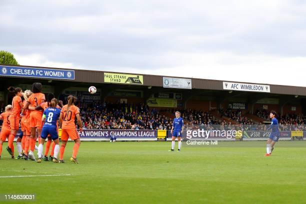 So-Yun Ji of Chelsea Women scores her team's first goal from a freekick during the UEFA Women's UEFA Champions League Semi Final second leg match...