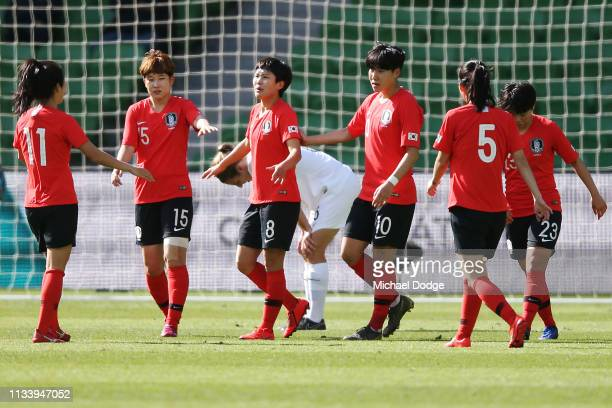 Soyun Ji of Korea Republic celebrates a goal during the Cup of Nations match between the Korea Republic and New Zealand at AAMI Park on March 06 2019...