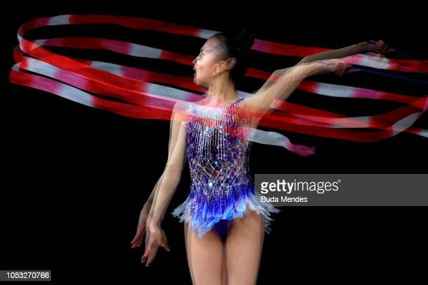 Soyun Lee of South Korea competes in ribbon in Multidiscipline Team Event Final during Day 4 of Buenos Aires 2018 Youth Olympic Games at America...