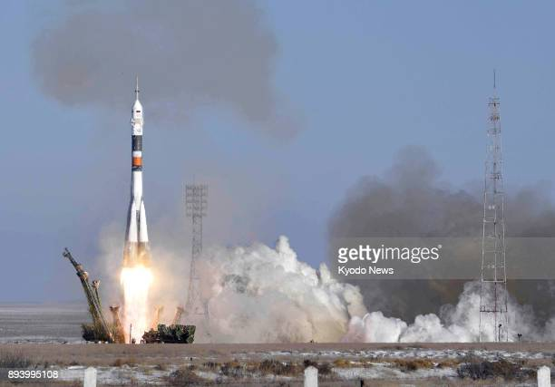 A Soyuz rocket blasts off from the Baikonur Cosmodrome in Kazakhstan on Dec 17 to carry Norishige Kanai of Japan Anton Shkaplerov of Russia and Scott...