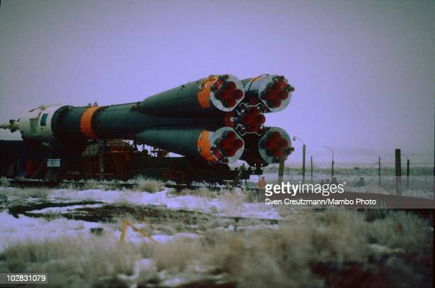 Soyuz TM-14 is carried on railways to the Baikonur Cosmodrome rocket launch ramp, on March 17 in Baikonur, Kazakhstan. The Soyuz TM-14 spacecraft...