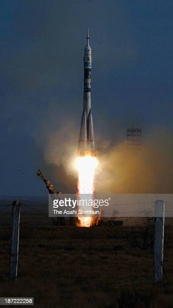 Soyuz TMA11M spacecraft lifts off from the launch pad at the Baikonur Cosmodrome on November 7 2013 in Baikonur Kazakhstan The rocket takes...